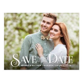 Postal Reserva elegante de la foto del boda el | la