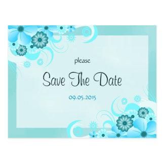 Postal Reserva floral azul del boda de la aguamarina