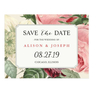Postal Reserva floral botánica del boda del vintage la