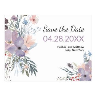 Postal Reserva floral de la acuarela violeta del prado la