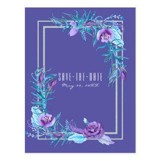 Postal Reserva floral de la moda de la aguamarina púrpura