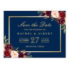 Postal Reserva floral del boda del oro de Borgoña Marsala