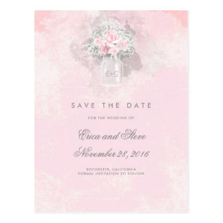 Postal Reserva floral del tarro de albañil del rosa de la