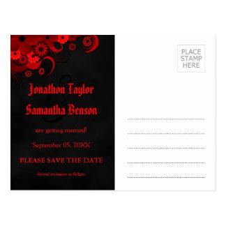 Postal Reserva floral roja del gótico de la pizarra las
