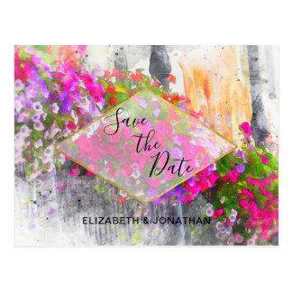 Postal Reserva floral rosada elegante de la acuarela la