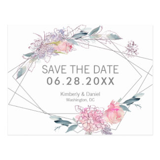 Postal Reserva geométrica floral de la acuarela la fecha
