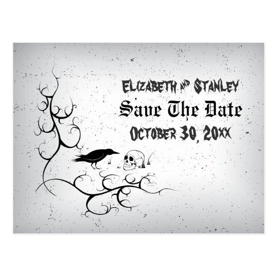 Postal Reserva gótica del boda de Halloween del cráneo