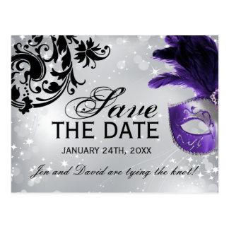 Postal Reserva púrpura del boda de la mascarada la fecha