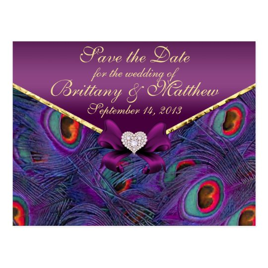 Postal Reserva púrpura del pavo real del ciruelo la