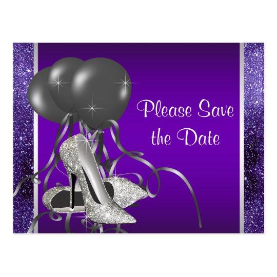 Postal Reserva púrpura del zapato del tacón alto la fecha