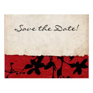 Postal Reserva rasgada roja y negra del boda de papel la