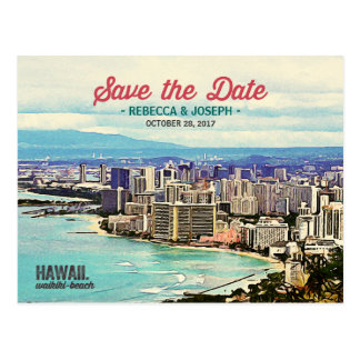 Postal Reserva retra de la foto de la playa de Hawaii