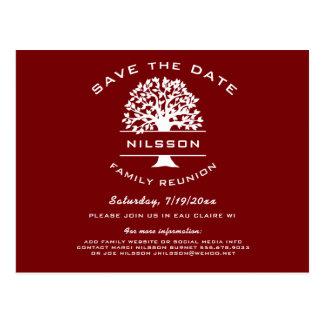 Postal Reserva roja de la reunión del árbol de familia de