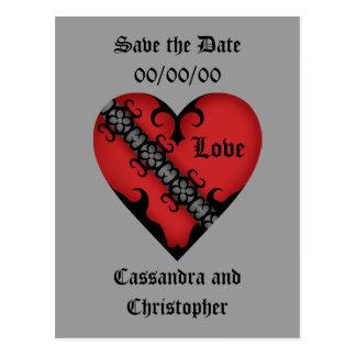 Postal Reserva roja medieval gótica romántica del corazón
