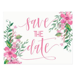 Postal Reserva rosada del boda del flor del amor de la