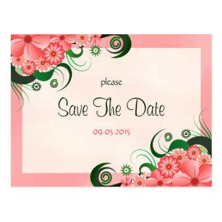 Postal Reserva rosada floral del personalizado del