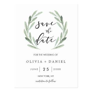 Postal Reserva simple del boda de la guirnalda verde