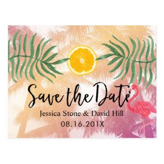 Postal Reserva tropical del boda de la palmera y del
