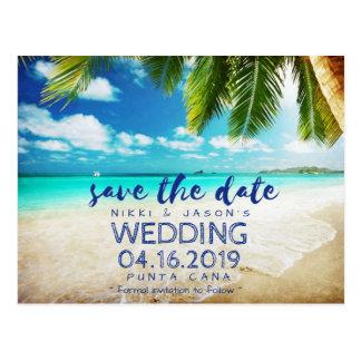 Postal Reserva tropical del boda del destino de la playa