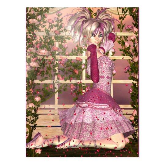 Postal Respiración del arte color de rosa de la fantasía