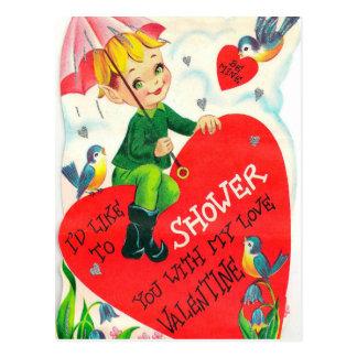 Postal Postal retra de la ducha del día de fiesta de la