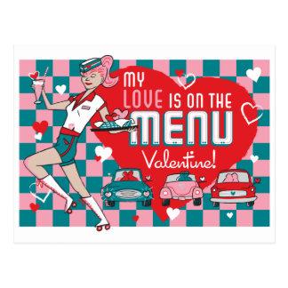 Postal retra de la tarjeta del día de San Valentín