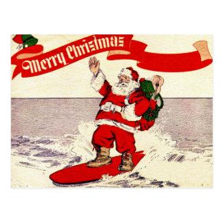 Postal retra de Santa que practica surf