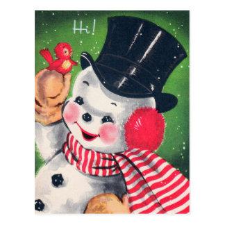 Postal retra del día de fiesta del muñeco de nieve