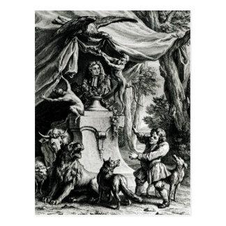 Postal Retrato alegórico de Jean de La Fontaine