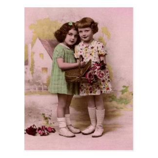 Postal Retrato de dos chicas franceses jovenes