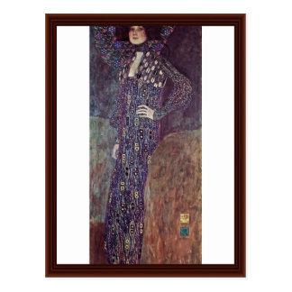Postal Retrato de Emilie Floege de Klimt Gustavo
