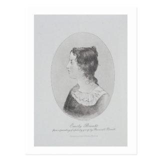 Postal Retrato de Emily Bronte (1818-48) grabado por Wal
