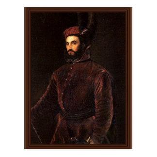 Postal Retrato de Ippolito de' Medici. Por Tizian