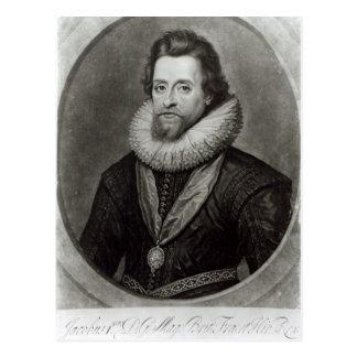 Postal Retrato de James I después de una miniatura cerca