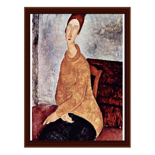 Postal Retrato de Jeanne Hébuterne en el suéter amarillo