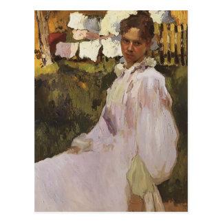 Postal Retrato de Konstantin Somov- de señora N.F. Ober