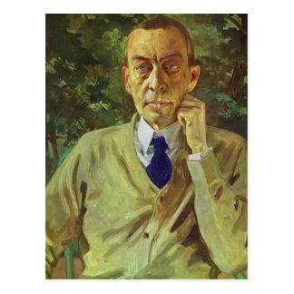 Postal Retrato de Konstantin Somov- del compositor Sergei