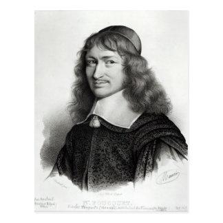 Postal Retrato de Nicolás Fouquet grabado por Maurin