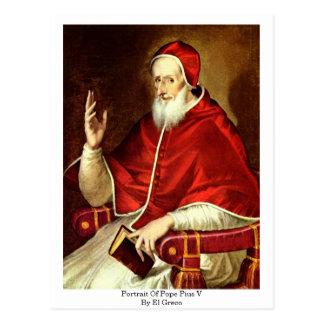 Postal Retrato de papa Pío V. Por El Greco
