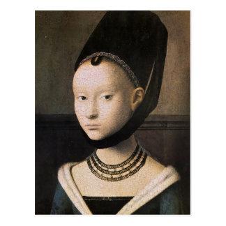 Postal Retrato de Petrus Christus de una mujer joven