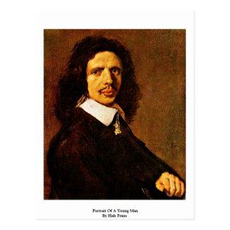 Postal Retrato de un hombre joven de Hals Francisco