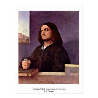 Postal Retrato de un noble veneciano por Titian