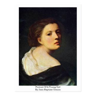 Postal Retrato de una chica joven de Jean-Baptiste Greuze