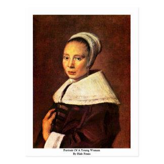 Postal Retrato de una mujer joven de Hals Francisco