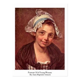 Postal Retrato de una mujer joven de Jean-Baptiste Greuze