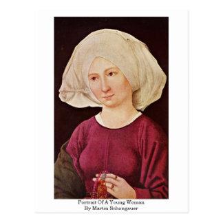 Postal Retrato de una mujer joven de Martin Schongauer