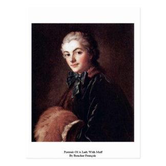 Postal Retrato de una señora With Muff By Boucher