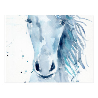 Postal Retrato del caballo de la acuarela