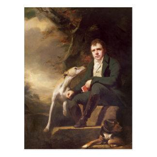 Postal Retrato del sir Walter Scott y sus perros