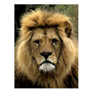 Postal Retrato del Watercolour del león